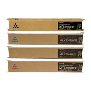 图片 理光(Ricoh)MP C2503C/2503HC 四色套装 MPC2503C/MPC2503HC 大容量粉盒 适用C2011/2503/2003机型 打印页数黑色15000页 彩色9500页